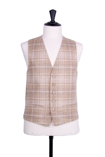 Sand check tweed Grooms wedding waistcoat SB