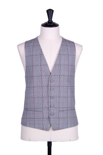 Prince of wales pink single breasted wedding waistcoat