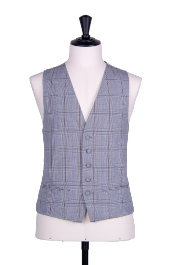Prince of wales purple single breasted wedding waistcoat