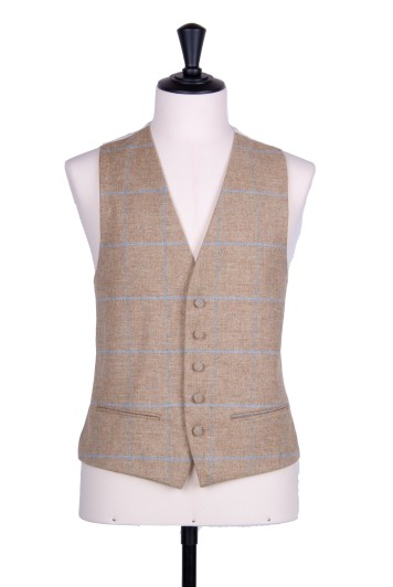 English tweed sand Grooms wedding waistcoat SB