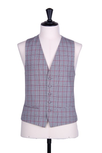 Prince of wales burgundy single breasted  wedding waistcoat