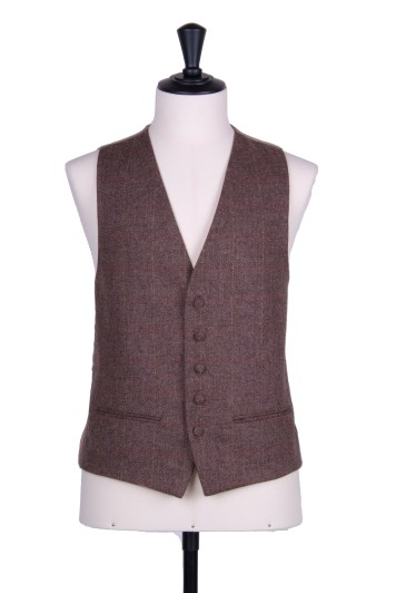 English tweed brown check Grooms wedding waistcoat SB