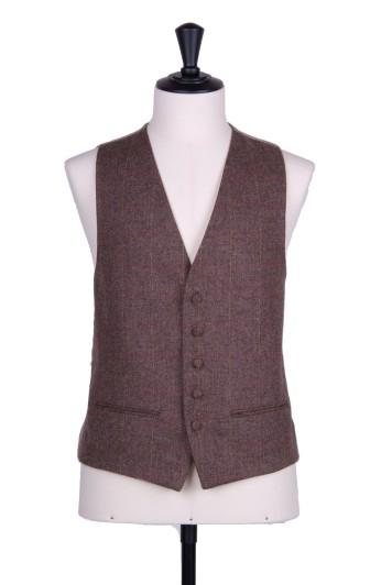 English tweed brown check Grooms wedding waistcoat SB