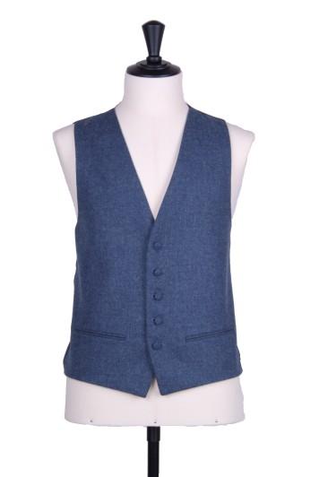 tweed dark blue Grooms wedding waistcoat SB