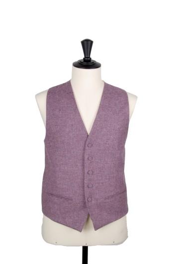 Tweed lilac Grooms wedding waistcoat DB