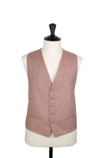Tweed peach Grooms wedding waistcoat DB