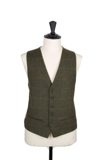 Tweed green & gold check wedding waistcoat