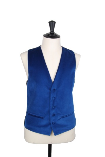Royal blue velvet Grooms wedding waistcoat