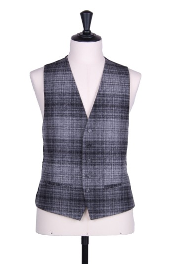 Tweed slate grey check Grooms wedding waistcoat SB