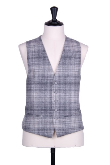 Tweed silver check silver Grooms wedding waistcoat SB
