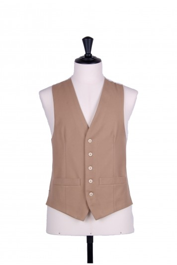 Ascot single breasted buff wedding waistcoat