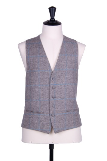 Tweed grey & blue check wedding waistcoat SB