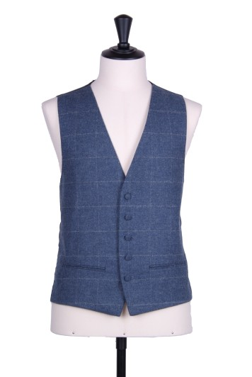 Tweed dark blue & grey check Grooms wedding waistcoat