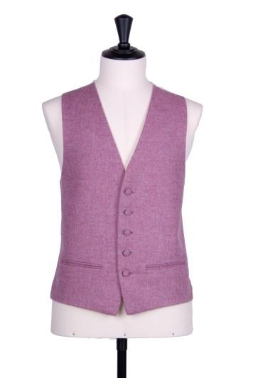 Tweed dark pink Grooms wedding waistcoat SB