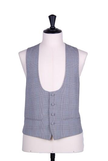Grey Prince of Wales scoop wedding waistcoat