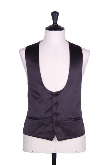 Black scoop waistcoat satin