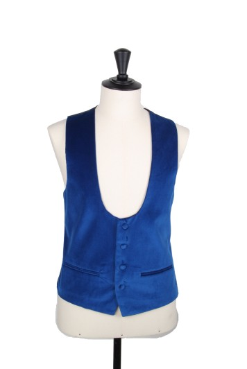 Royal blue velvet Grooms wedding waistcoat scoop