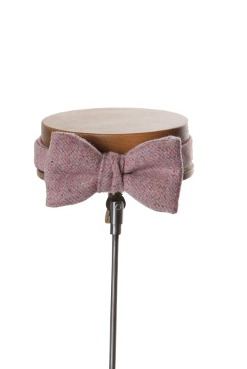 Tweed pink Grooms wedding bow tie