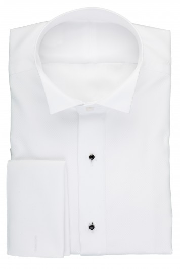 white wing collar pique evening shirt