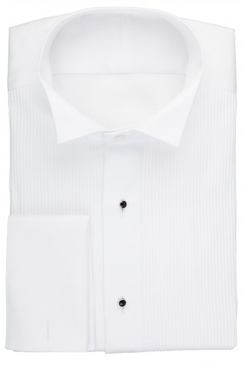 white wing collar pleat evening shirt