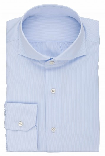 grooms pale blue striped wedding shirt