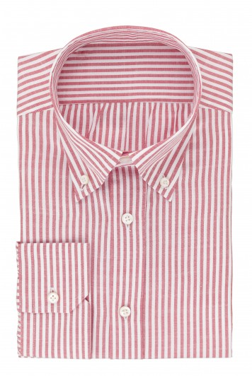 grooms red candy stripe wedding shirt