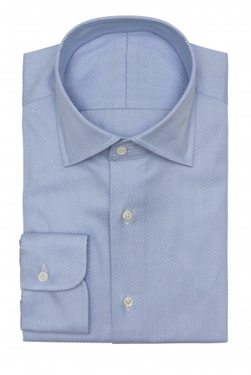 light blue dobby micro design shirt