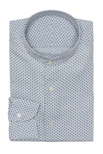 light blue melange herringbone with micro design Shirt