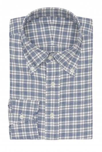 white chambray super blue check shirt
