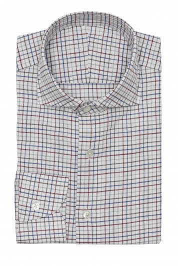 white chambray super multi check shirt
