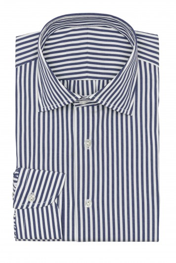 mid blue with white stripes shirt