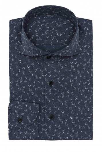 Dark blue floral print shirt