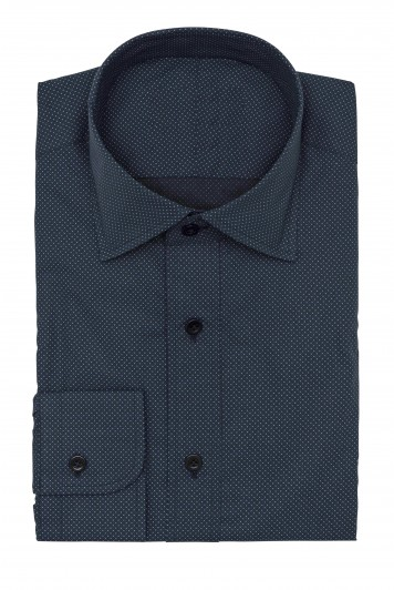 dark blue micro dots shirt