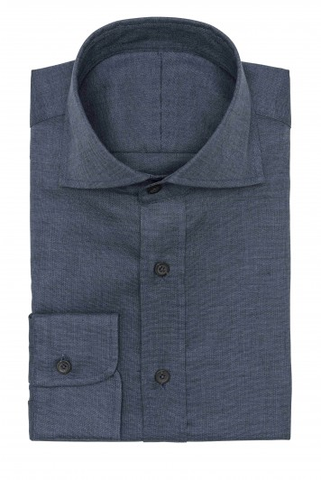 dark blue oxford solid shirt
