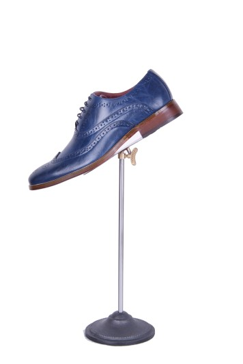 Blue brogue grooms shoes