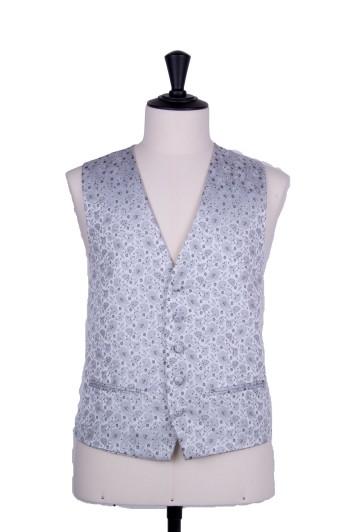 silver grey Grooms wedding waistcoat floral