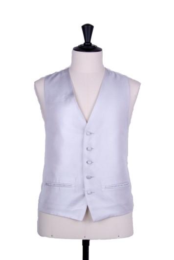 Silver wedding waistcoat Oxford weave
