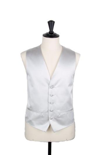 Silver satin Grooms wedding waistcoat