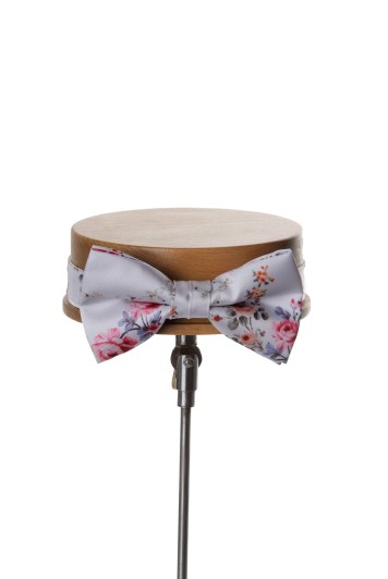 Tea rose silver vintage floral wedding bow tie