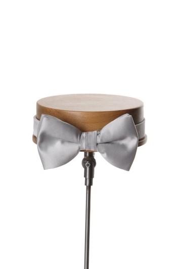 Silver grey wedding bow tie