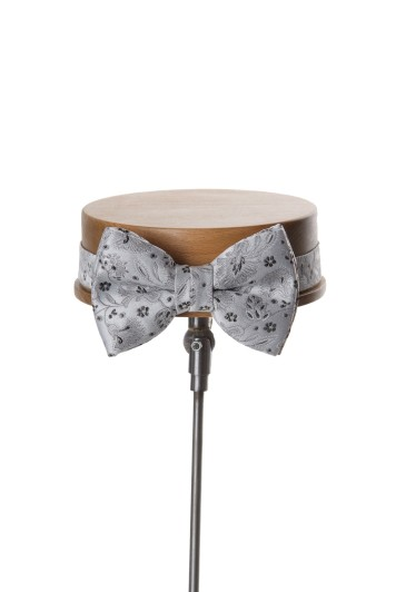 Silver grey GRooms wedding bow tie
