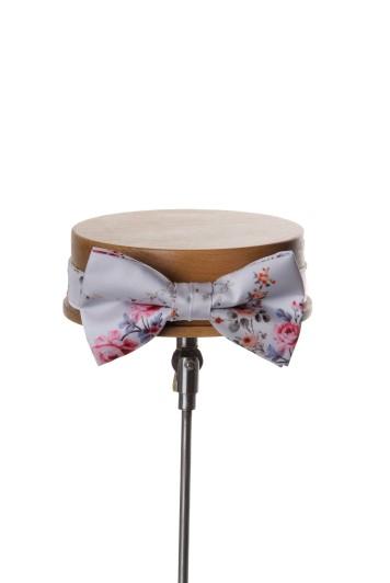 Floral silver Grooms wedding bow tie