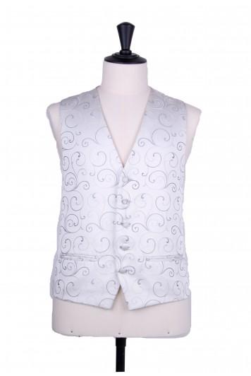 swirl silver grey wedding waistcoat