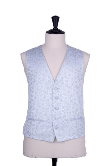 Sky blue floral wedding waistcoat