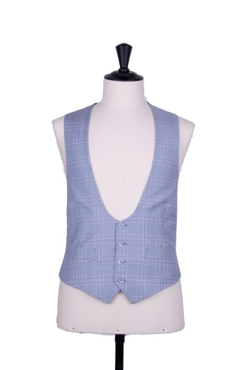 Sky blue check horseshoe waistcoat made to measure groom wedding