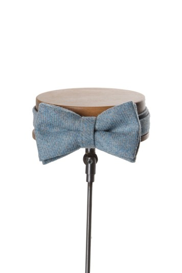 Tweed sky blue Grooms wedding bow tie