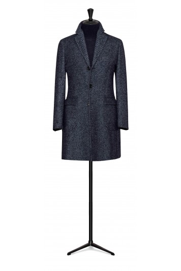 slate blue-dark blue wool-alpaca herringbone buisness overcoat