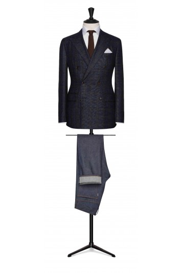 slate blue-midnight blue wool-silk-cashmere with brown windowpane