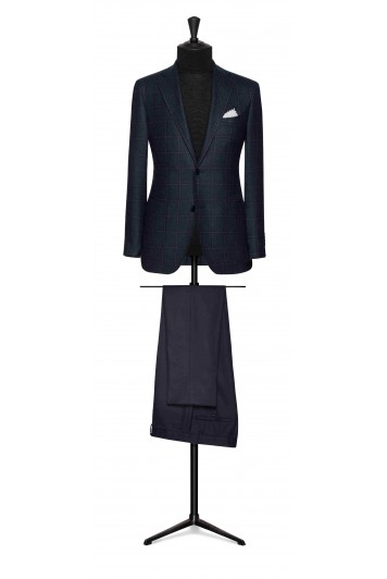 slate blue sharkskin with blue-brown windowpane wedding jacket
