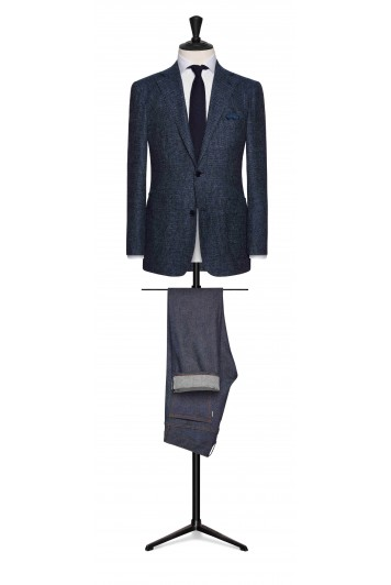 slate blue striped wool-alpaca wedding jacket
